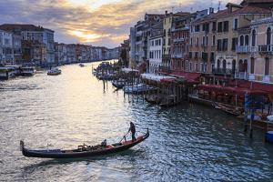 Gondola on the Grand Canal at sunset in winter, from Rialto Bridge, Venice, UNESCO World Heritage S by Eleanor Scriven