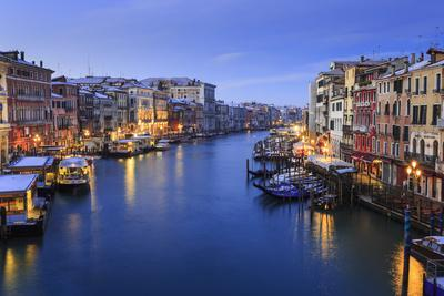 Grand Canal from Rialto Bridge after overnight snow, dawn blue hour, Venice, UNESCO World Heritage
