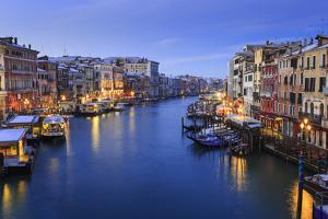 Grand Canal from Rialto Bridge after overnight snow, dawn blue hour, Venice, UNESCO World Heritage  by Eleanor Scriven
