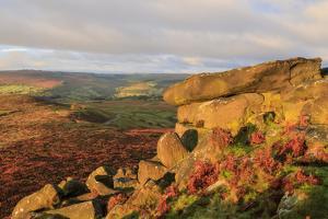 Higger Tor and Hathersage Moor, autumn sunrise, Peak District National Park, Derbyshire, England, U by Eleanor Scriven