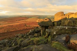 Higger Tor and Hathersage Moor, sunrise in autumn, Peak District National Park, Derbyshire, England by Eleanor Scriven