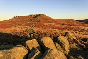 Higger Tor, autumn sunrise, Hathersage Moor, from Carl Wark Hill Fort, Peak District National Park, by Eleanor Scriven