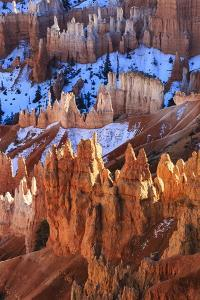 Hoodoos and Snow Lit by Strong Late Afternoon Sun in Winter by Eleanor Scriven