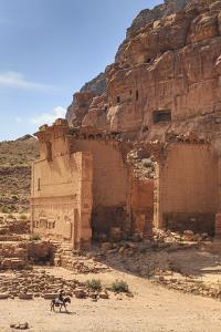 Local Man on Donkey Passes Qasr Al-Bint Temple, Jordan by Eleanor Scriven