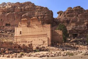 Local Men on Donkeys Pass Qasr Al-Bint Temple, City of Petra Ruins, Petra, Jordan, Middle East by Eleanor Scriven