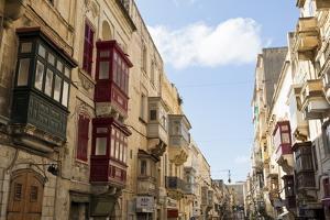 Maltese Balconies in the Old Town, Valletta, Malta, Europe by Eleanor Scriven