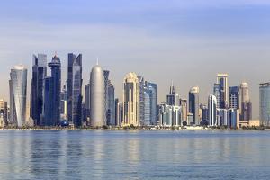 Modern City Skyline of West Bay, Qatar by Eleanor Scriven
