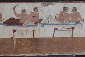 Painted Tomb of the Diver Detail, National Archaeological Museum, Paestum, Campania, Italy by Eleanor Scriven