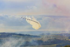Red Arrows, Royal Air Force aerobatic display team, Peak District Nat'l Park, Derbyshire, England by Eleanor Scriven