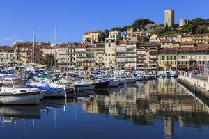 Reflections of boats and Le Suquet, Old port, Cannes, Cote d'Azur, Alpes Maritimes, France by Eleanor Scriven