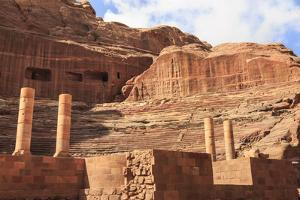 Theatre Carved into the Mountainside, with Stage Wall and Columns, Petra, Jordan, Middle East by Eleanor Scriven