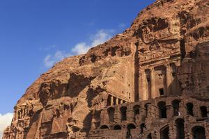 Tourist around the Urn Tomb, Royal Tombs, Petra, UNESCO World Heritage Site, Jordan, Middle East by Eleanor Scriven