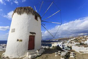 Whitewashed windmill, view of Mykonos Town (Chora) and cruise ships in distance, Mykonos, Cyclades, by Eleanor Scriven