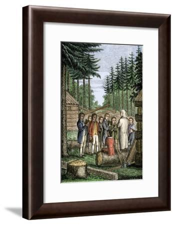 Eleazer Wheelock Founding Dartmouth College in the Forests of New Hampshire, 1770--Framed Giclee Print