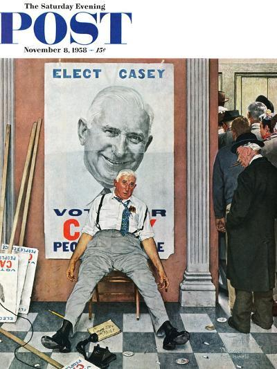 """Elect Casey"" or ""Defeated Candidate"" Saturday Evening Post Cover, November 8,1958-Norman Rockwell-Giclee Print"