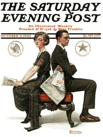"""""""Election Debate"""" Saturday Evening Post Cover, October 9,1920-Norman Rockwell-Giclee Print"""