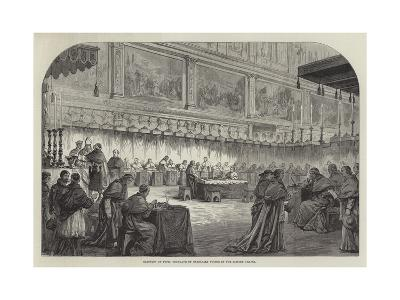 Election of Pope, Conclave of Cardinals Voting in the Sistine Chapel--Giclee Print