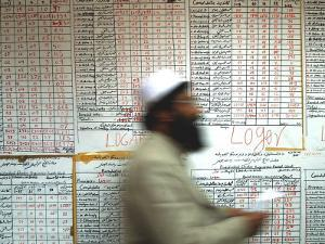 Electoral Worker Passes Election Results Posted on Wall at a Counting Center in Kabul, Afghanistan