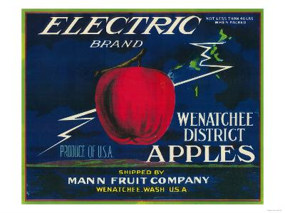 Electric Apple Label - Wenatchee, WA-Lantern Press-Art Print