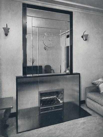 'Electric fireplace and overmantel by James Clark & Son Ltd.', 1940-Unknown-Photographic Print