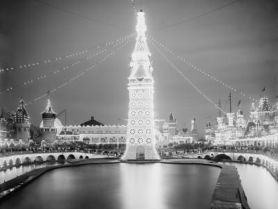 Electric Lamps Blaze on the Electric Tower at Night, Luna Park, Coney Island, 1903--Photo