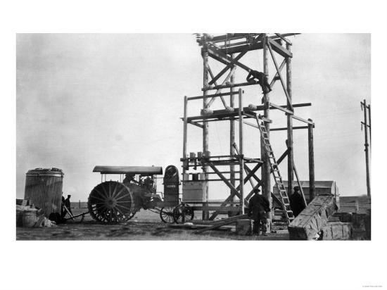 Electric Plant Construction & Old Tractor - Stanford, MT-Lantern Press-Art Print