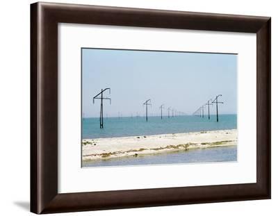 Electric Power Lines Crossing a Sea-Ria Novosti-Framed Photographic Print