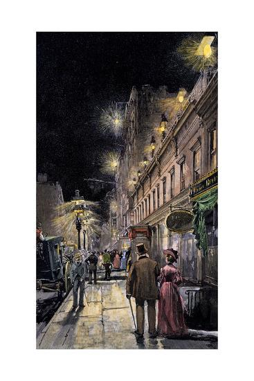 Electric Streetlights Connected From Underground Wiring, New York City, 1889--Photographic Print