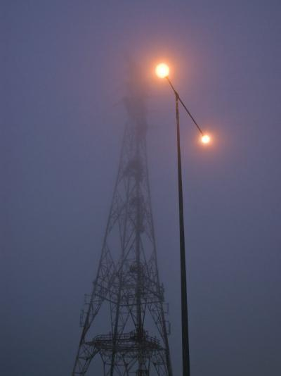Electricity Tower and Freeway Lighting Emerge from Heavy Fog-Jason Edwards-Photographic Print