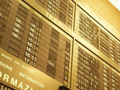 Electronic Italian Train Schedule--Photographic Print