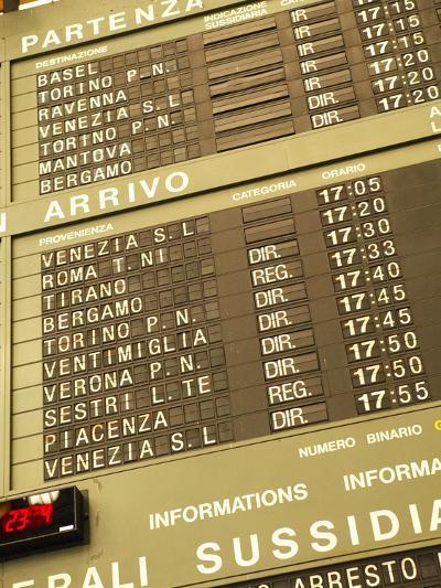 Electronic Train Schedule in Italian Langauge--Photographic Print