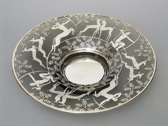 Electroplated Glass Plate with Hunting Scenes, 1930-1939, Italy--Giclee Print