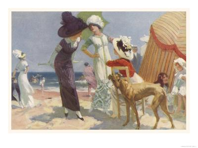 Elegance on the Beach, It's the Place to be Seen and a Lady Wants to be Seen at Her Best--Giclee Print