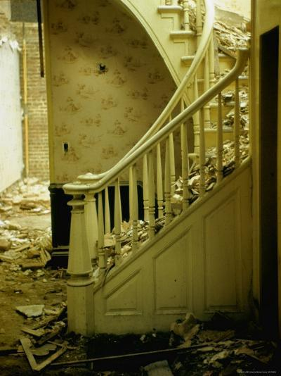 Elegant Curving Stairway Amid Rubble in Building under Demolition, in New York City-Walker Evans-Photographic Print