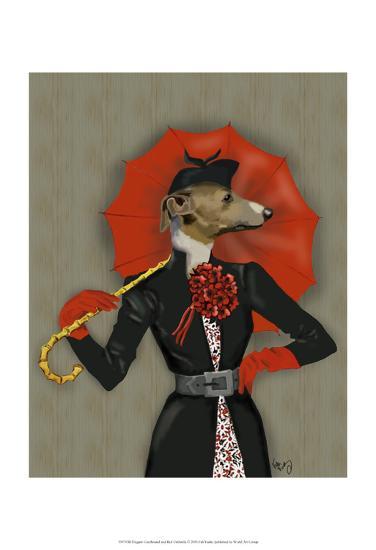 Elegant Greyhound and Red Umbrella-Fab Funky-Art Print