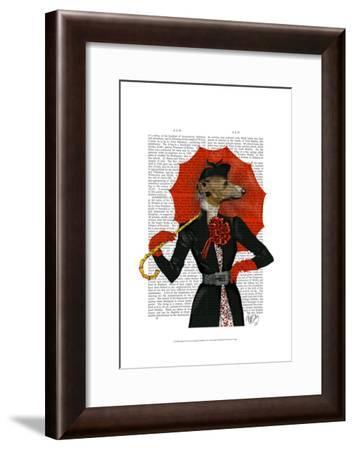 Elegant Greyhound and Red Umbrella-Fab Funky-Framed Art Print