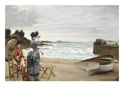 Elegant Ladies on the Beach, Undated-Jules-Charles Aviat-Giclee Print