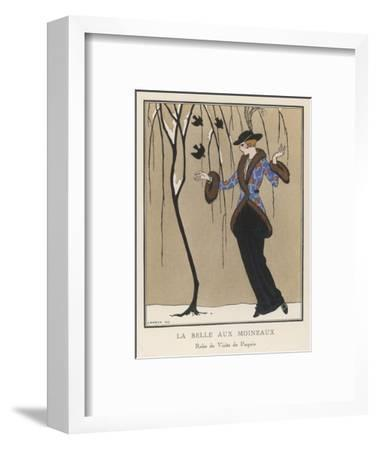 Elegant Lady in Snow--Framed Giclee Print