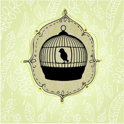 Elegant Nature Background with Birdcage-rebekka ivacson-Art Print