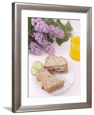 Elegant Sandwich and Juice with Blooming Purple Flowers--Framed Photographic Print