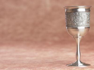 Elegant Silver Shabbat Cup with Hebrew Engraving--Photographic Print