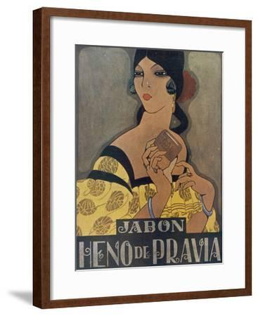 Elegant Spanish Woman in an Advertisement for Heno De Pravia Soap--Framed Giclee Print