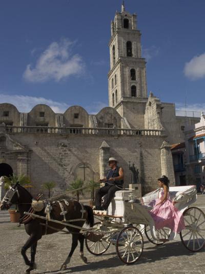 Elegant Woman Riding in Horse and Carriage, Plaza San Francisco De Asis, Havana, Cuba-Eitan Simanor-Photographic Print