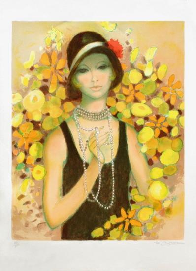 Elegante au Collier de Perles-Francois Batet-Limited Edition