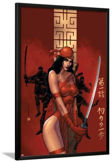 Elektra The Hand No.1 Cover: Elektra Fighting-Bill Sienkiewicz-Lamina Framed Poster