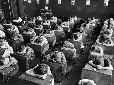Elementary School Children with Heads Down on Desk During Rest Period in Classroom-Alfred Eisenstaedt-Photographic Print