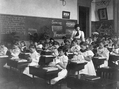 Elementary School Girls Learning Sewing--Photographic Print