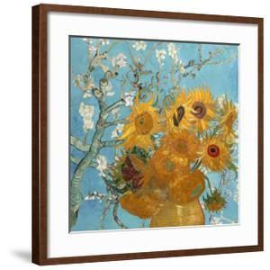 Collage Design with Painting Elements - Sunflowers & Almond Branches in Bloom by Elements of Vincent Van Gogh