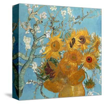 Collage Design with Painting Elements - Sunflowers & Almond Branches in Bloom