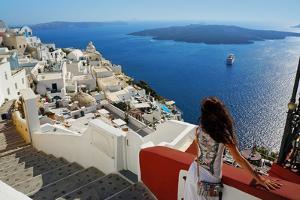 Beautiful Woman on Santorini, Thira Town by ELEN